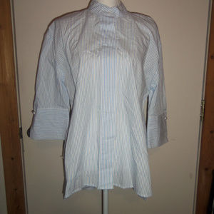 Striped 3/4 Sleeve Oversized Tunic - Who What Wear